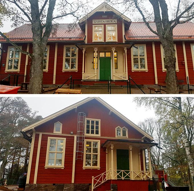 Tjusta Skolan Utvändig målning av Kulturklassad Byggnad åt Upplands Brohus